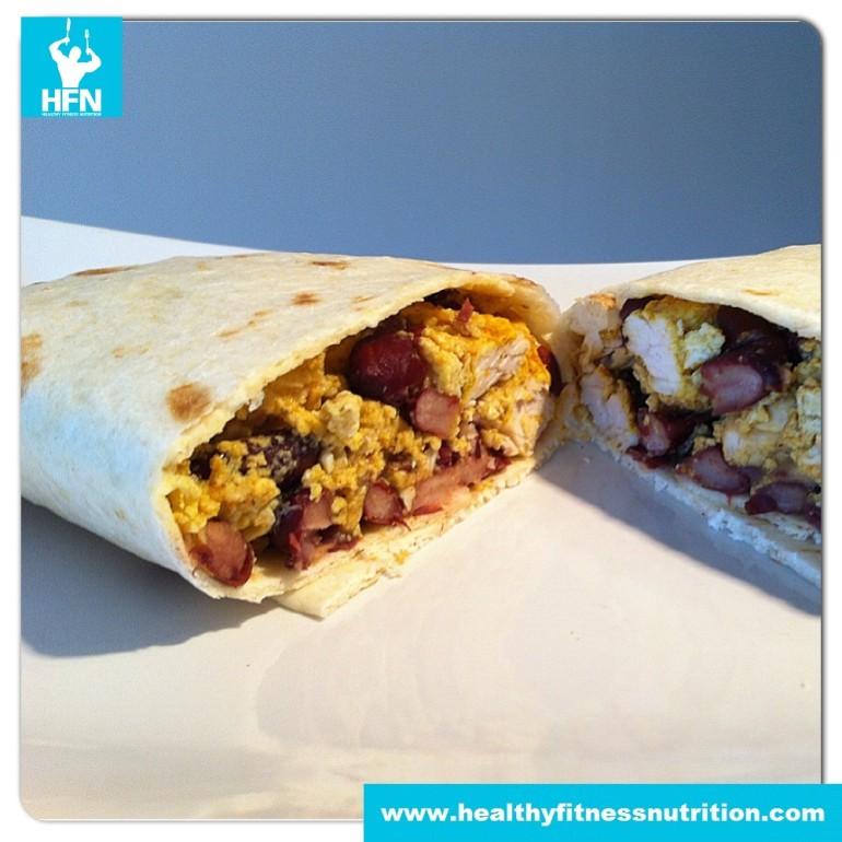 Post-Workout Rezept: Wrap mit Huhn, Ei und Bohnen
