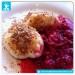 Protein Topfenknödel mit Himbeersauce Fitness Dessert Rezept