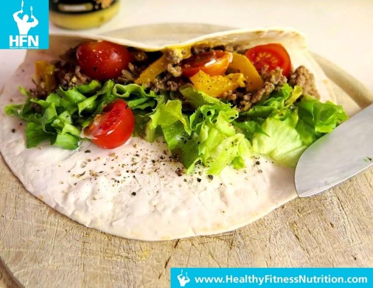 Post-Workout Mahlzeit: Würziger Burrito mit Faschiertem und Gemüse (Scharf)