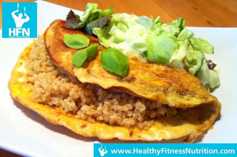 Ei – Quinoa Burger mit Salat (Post-Workout Rezept)