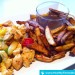 Post-Workout Mahlzeit: Fettarme Pommes mit Hühnerfleisch und Gemüse