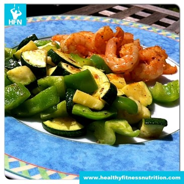 Shrimps in Olive Oil with Vegetables