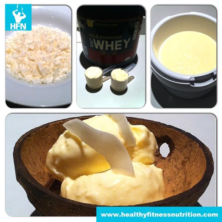 Protein Ice Cream Recipe (Vanilla-Coconut)