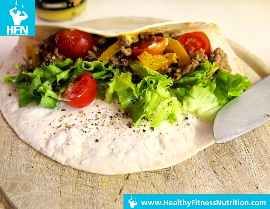 Post Workout Meal Y Burrito With Minced Meat And Veggies Hot Healthy Fitness Recipes Muscle Growth Fat Loss
