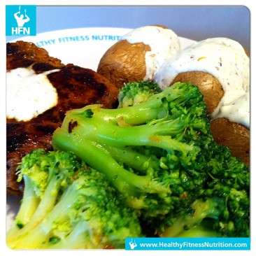 Steak with Potatoes, Broccoli and Garlic Sauce