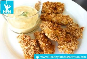 Healthy Chicken Nuggets Recipe (Low-Fat ) with Garlic Sauce